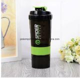 600ml 21oz Outdoor Sports Travel Water Bottle, Plastic Protein Shaker with 3 Layers
