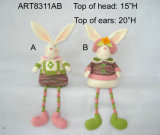 Wood Bead Legged Easter Decoration Bunny-2asst