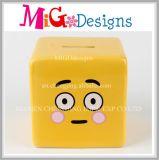 Enjoyable Childen Emoji Face Square Ceramic Piggy Bank