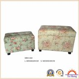 Antique Furniture Wooden Stool Storage Ottoman Chest Trunk Gift Box World Map Pattern Printed