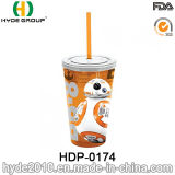 Wholesale BPA Free Plastic Water Bottle, 350ml/12oz Double Wall Plastic Tumbler with Straw (HDP-0174)