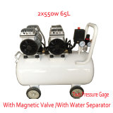 2X550W 65L with Double Pressure Gage Magnetic Valve Oilless Air Compressor