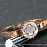 Elegant Jewelry Fashion Women Stainless Steel Flower Charm Bracelet Bangle