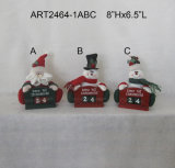 "Christmas 8""H Santa and Snowman Countdown Calendar-"
