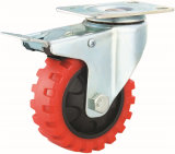 3/4/5 Inch Red PU Castor Wheels Medium Duty Tyer Veins Caster with Double Brake