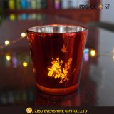 Custom Colored Cut Glass Candle Holder