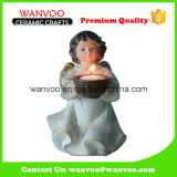 Hot Selling Stoneware China Decorative Angel Candle Holder for Home Decoration