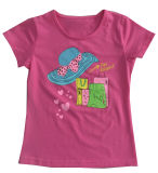 Flower Cap Girl T-Shirt in Children Clothes Apparel with Print Sgt-075