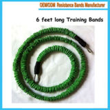6 Feet Long Training Resistance Bands with Sleeve Protected Anti-Snap in Green