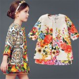 High Quality Girl′s Dress and Coat Two-Piece Combination Embroidery Dress