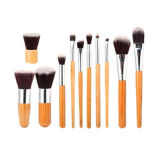 11PCS Bamboo Handle Makeup Brush Set with a Brush Bag
