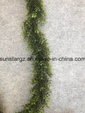 PE Plastic Boxwood Artificial Garland for Home Decoration