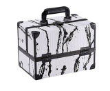 New Design White Cosmetic Travel Carrying Case with Sturdy Black Aluminum Frame