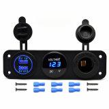 Car Digital LED Voltmeter Current Meter + 12V Cigarette Lighter Socket + 2 USB Ports Car Charger for SUV, RV, Caravan