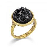 Unique Rock Crystal Quartz Rings for Women Druzy Wedding Ancient Bronze Adjustable Rings