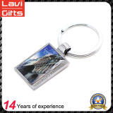 Promotional Cheap Alloy Rectangle Shaped Metal Keychain with Key Ring