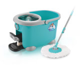 Sunki Easy Wring 360 Rolling Spin Mop with 2 Microfiber Mop Heads, Foot Pedal Floor Mop Bucket Set