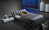 European Style Bedroom Grey Leather Bed Double Bed (HC315)