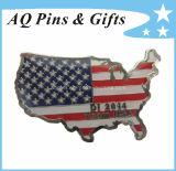 Brass USA Flag Lapel Pin Badge in Soft Enamel (badge-080)