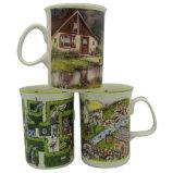 10oz Bone Porcelain Coffee Mug Office Mug with Pastoral Style