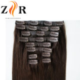 Brown Color Natural Drawn Russian Hair Clip in Human Hair Extension
