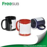 Hotsale Wholesale China 11oz Black Color Patch Irregular Edge Digital Sublimation Magic Mug