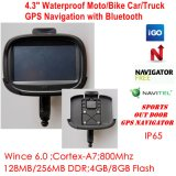 "New Waterproof 4.3"" Motorcycle Bike Car GPS Navigator Built-in 66 Channel Handheld GPS, Wince 6.0, 800MHz Cortext-A7, Bluetooth, Sat Nav"