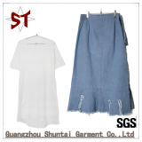 Hot Sale Ladies Popular Half-Length Denim Straight Skirt Suit