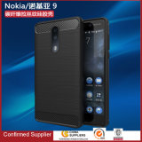 Soft Brush TPU Case Carbon Fiber Cover Fashion Back Cover for Nokia 9 Case
