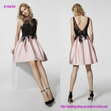 Sophisticated Two-Tone Bodice Mikado Tulle and Lace Details Short Evening Dress with V Backless