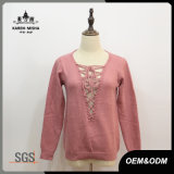Women V-Neck Lace-up Pink Pullover Sweater