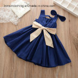 Sleeveless Girls′ Dress Children Clothes with Big Bow on One Shoulder