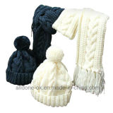 Unisex Winter Hand Knit Hats Caps Scarves Warm Set
