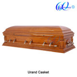 Mahogany Veneer High Gloss Velvet Coffin and Casket