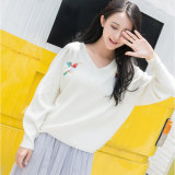 Women Lady High Quality Cotton Acrylic OEM Knitted Sweater Pullover