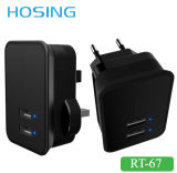 Newest Design UK EU Plug 2.1A Dual USB Travel Charger