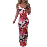 Multi-Color Floral Print Crisscross Back Maxi Dress
