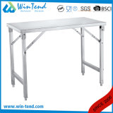 Stainless Steel Square Tube Collapsible Working Table with Height Adjustable Leg for Transport