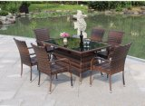 6 Seater Cane Chair and Rattan Dining Room Table