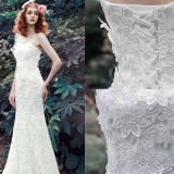 Sheath Column Strapless Chapel Train Wedding Outdoor Dress with Lace Flower