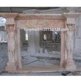 Beige Stone Sculpture Marble Fireplace (SY-MF014)