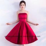 Strapless Sleeveless Satin Simple Tea Length Red Bridesmaid Dresses