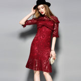Polyester Red Hollow Floral Printed Women Dress with Half Sleeve