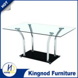 Quality Control Chromed Legs Tempered Glass Dining Table