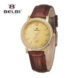 Belbi New Fashion Casual Ladies Watch Leather Strap Tide Line Diamond Nail Face Quartz Watch