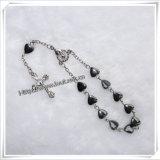 Handmade Heart-Shaped Hematite Bead with Saint One Decade Rosary (IO-CE043)
