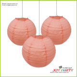 Peach Color Round Paper Lantern Lamp for Party Decoration