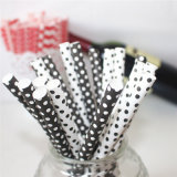 Black & White DOT Fat Paper Drinking Straw