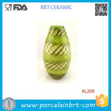 Hand Blown Glass Murano Art Style Teardrop Green Decorative Vase