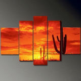 Handmade Group Modern Seascape Sunset Oil Painting on Canvas (SE-0124)